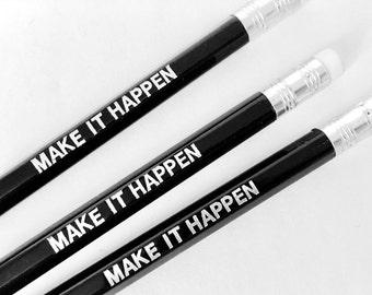 Set of 3 engraved pencils, black - Make it happen
