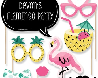 Flamingo Photo Booth Props - Let's Flamingle Photo Accessories for Baby Shower, Birthday Party or Bridal Shower - 20 Photo Props and Dowels