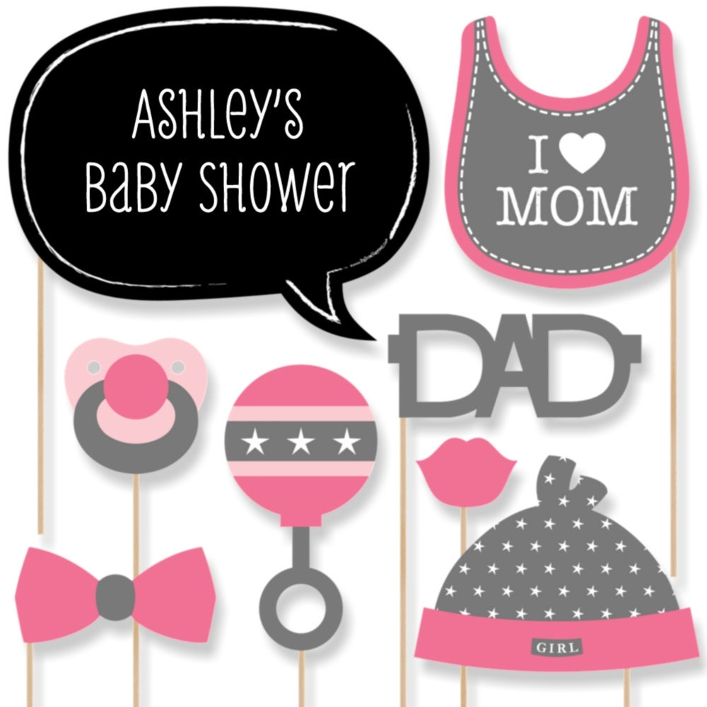 20 baby shower photo booth props pink girl kit with