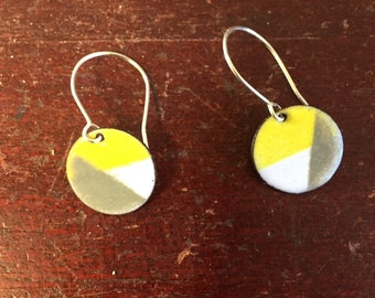 Cute yellow, grey and white enamel earrings with hand formed sterling silver ear wire