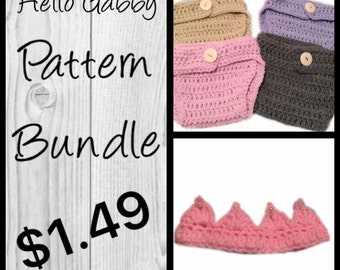 Crochet Diaper Cover & Crown Pattern - Baby Crochet Pattern, Make Your Own Photo Prop, Newborn Tutorial , Easy Crochet Patterns for Babies