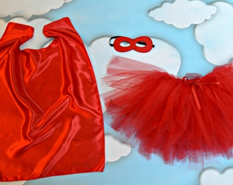 3 piece Tutu Outfit with Cape and Mask. Halloween Costume for Girl. Toddler Costume. Princess Costume. Princess Superhero Costume.