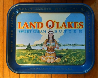 Vintage Land O' Lakes Sweet Cream Butter Metal Serving Trays