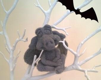 Gargoyle, Halloween, Needle felted Gargoyle, Gothic Ornament, OOAK Unique Handmade