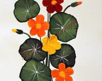 INSTANT DOWNLOAD Nasturtium Painting, Flower Digital Print, Flower Painting, Flower Decor, Flower Art, Painting Clipart DIY Printable