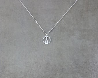 Eiffel Tower Circle [SILVER] Plated Necklace Paris France in Gift Box Champ de Mars Gustave Eiffel Traveler