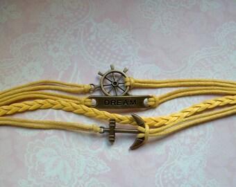 Bracelet anchor dream bronze yellow