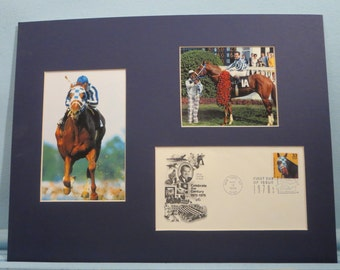 Triple Crown Winner Secretariat Wins the Kentucky Derby & First day Cover of his own stamp