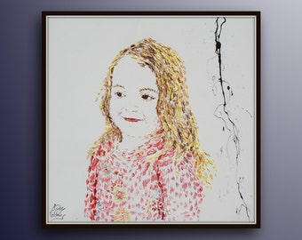 "Custom Portrait 40"" Portrait order painting, oil on canvas, pink blond, commissioned painting, girl portrait , handmade by Koby Feldmos"