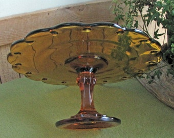 Amber Cake Stand Indiana Glass Co. Pedestal Dessert Plate Teardrop Design Vintage Serving Tray Petit Fours Tray Footed Cake Stand