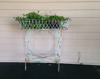 Vintage Victorian Style White Wire Plant Stand, Patio Porch Planter Plant Stand