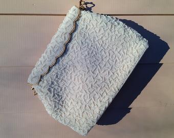 White Beaded Purse Handbag, Gold Tone Clasp, 60s A Gozillion Beads Hand Sewn