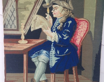 "Needle Point Tapestry of 18th Century Gentleman Reading and Smoking, 17 1/2"" by 14"""