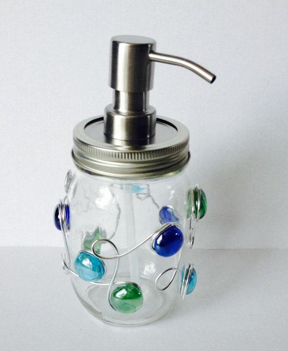 Mason Jar Soap Dispenser, Mason Jar Decor, Rustic Decor, Bathroom Decor, kitchen decor, Wire Wrapped, Lotion Dispenser, Beaded Soap Dish,
