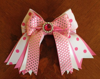 Shorty Hair Bows for Horse Shows/Hair Accessory/White, Pink, Bling/Shorties