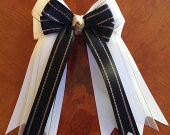 Equestrian hair bows/hair accessory/horse show/black, gold & white/beautiful