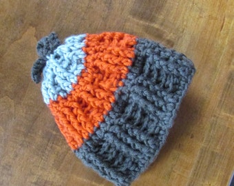 Burnt Orange / Eggplant Muted Purple / Silver - Grey Soft Baby Hat / Warm and Thick / 6 months