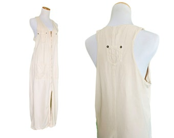 90s Ivory White Cotton Denim T-Back Dress M