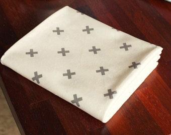 Mini Gray Cross Minky Fabric White by Yard