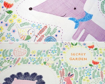 Cute Fox and Line Pattern Panel Fabric Width 145cm (57 Inch)