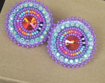 Native American beaded earrings:Purple sparkles