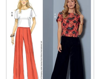 McCall's Sewing Pattern M7483 Misses' Short Sleeve Top and Pleated, Wide-Leg Pants