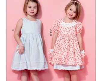 McCall's Sewing Pattern M7375 Children's/Girls' Sleeveless Dress, Puff Sleeve Overdress and Headband