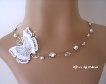 white wedding jewelry for bridal necklace with pearls and embroidered butterfly