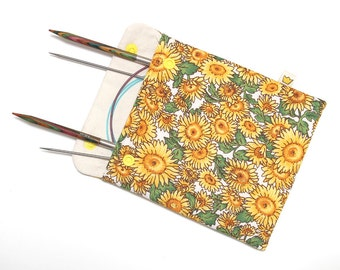 Circular needle case, snap pouch with sunflowers