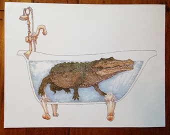 Crocodile in Bathtub art print, original ink and watercolor drawing, playful quirky art print