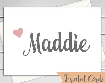 Name Note Cards Folded - 6pk, Personalized Folded Cards with Envelopes (NC15F)