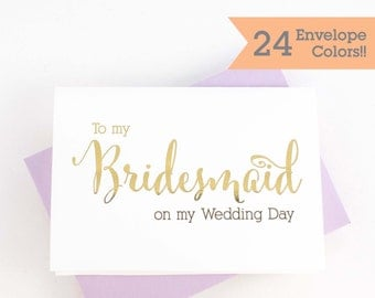 To My Bridesmaid, Wedding Day Card, Wedding Day Cards for Bridesmaids (WC110-CN-F)