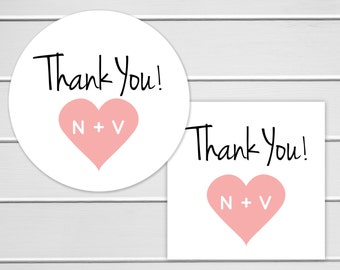 Wedding Thank you Stickers, Personalized Wedding Stickers, Thank You Labels, Envelope Seals  (#103)