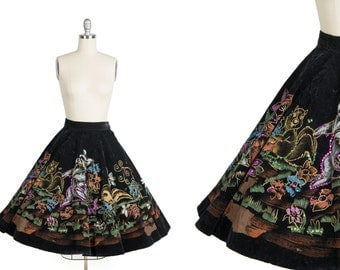 Vintage 1950s disney skirt // 50s mexican circle skirt // hand painted circle skirt