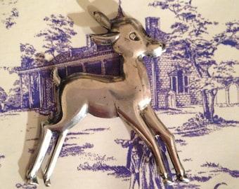 Vintage Sterling Silver Deer Pin, Sterling Silver Deer Pin, Silver Fawn Pin, Vintage Sterling Fawn Pin, Christmas Deer Pin, Deer, Fawn