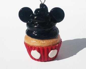Mickey Mouse Cupcake Charm | Polymer Clay | Disney Inspired