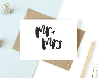 Wedding card 'Mr & Mrs' - hand lettered card / brush lettered card / congratulations greetings card