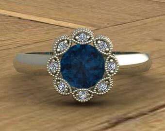 London Blue Topaz Ring - Flower with Diamonds and Milgrain - Bezel Flower - 14k White Gold - An Original Design by Charles Babb
