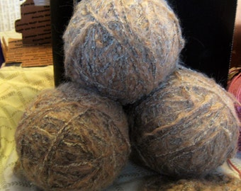 Natural Fiber Yarn Bundle - 3 Yarn Balls, Tan/Beige Double Strand