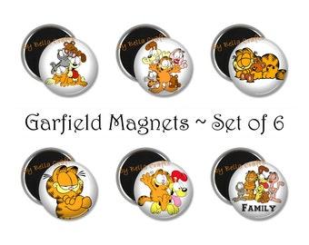 Set of 6, Garfield, Magnets, 2.25 Inch, Kitchen, Office, Cartoon, Decor, Geeky, Nerdy, Refrigerator, Gift Set