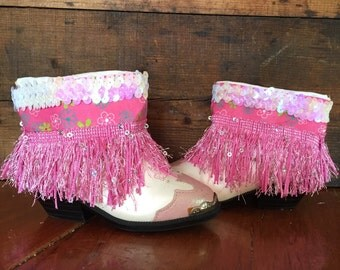 Pink and white upcycled Western cowgirl boots girls size 7