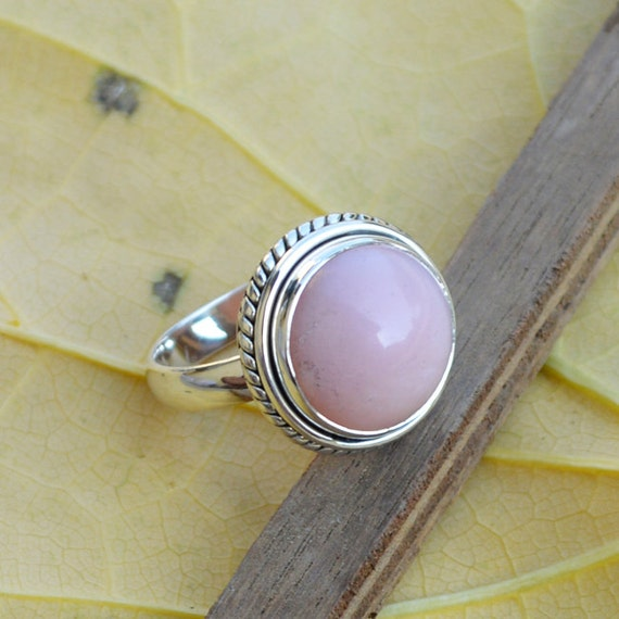 Natural Pink Opal Ring Sterling Silver Ring Pear Peruvian Pink Opal Ring Minimalist Jewelry October Birthstone Gift Jewelry Size 10