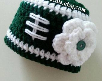 New York Jets Baby Girl Hat, New York Jets Football Hat, New York Jets Infant Hat, Jets Newborn Hat, New York Jets Newborn Photo Prop, New