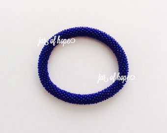 Nepal Handmade Beaded Roll On Bracelet Gift Birthday Navy Blue Solid