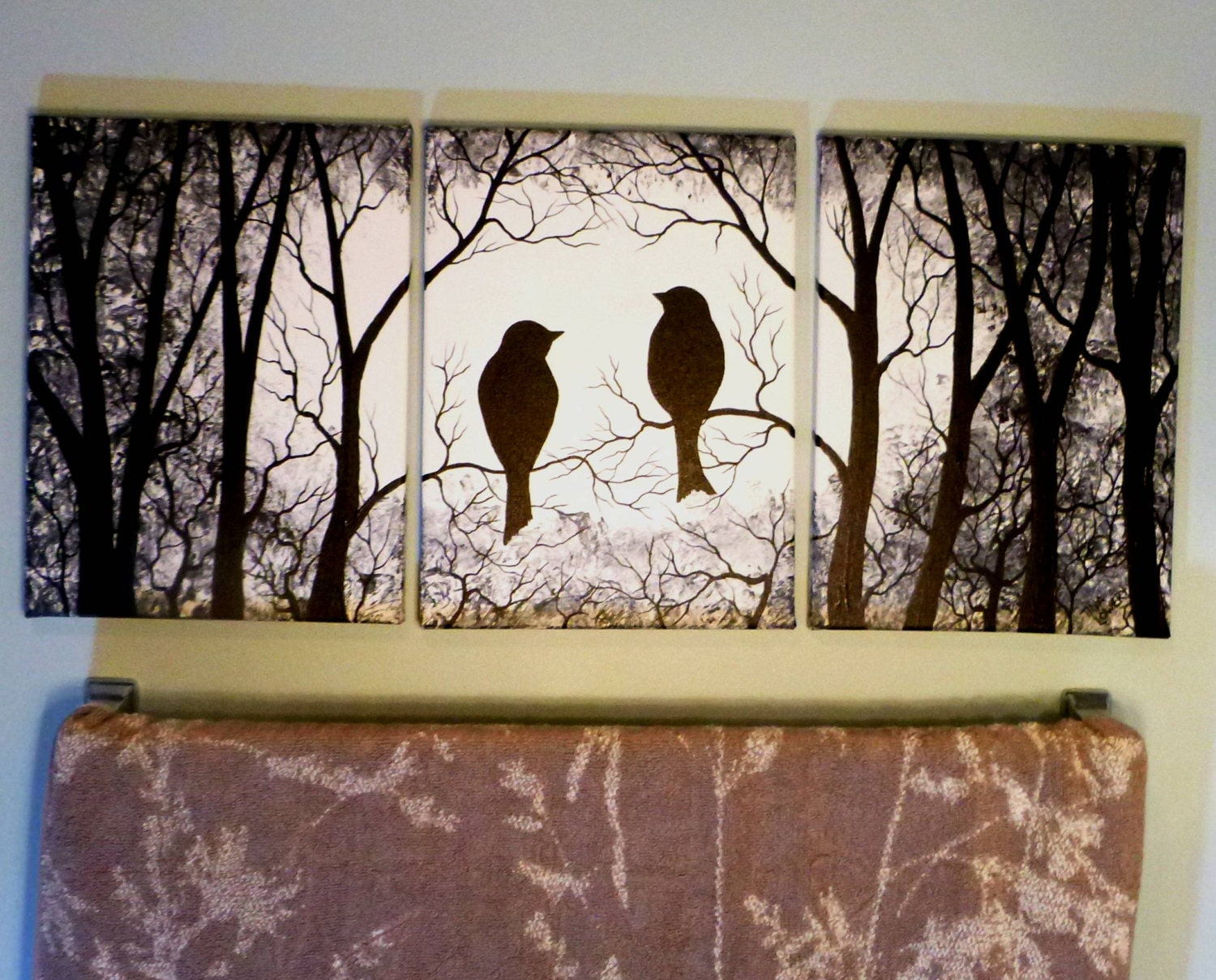 birds in the trees black and white 3 piece wall art three. Black Bedroom Furniture Sets. Home Design Ideas