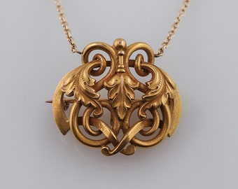 Antique Art Nouveau Pendant in 18k Yellow Gold