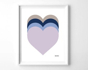 "Nursery Wall Art Purple Ombre Hearts, Printable Wall Art, 8""x10"", Gender Neutral, Wall Decor"
