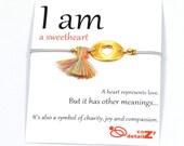 Mothers Day GIFT gold heart bracelet, silver heart bracelet, stacking bracelet, I AM Bracelet, gift for girlfriend, friendship bracelet, min