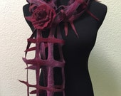 Felting Felted Lattice Net Scarf Red Burgundy Bordeaux Merino Wool Silk Perfect Gift for any occasion