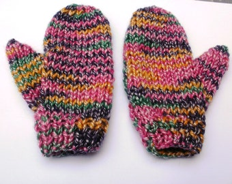 Girl's mittens, multicoloured mittens, hand knitted mittens, pink gold purple green mittens, wool mittens, matches a scarf, girl's gift.
